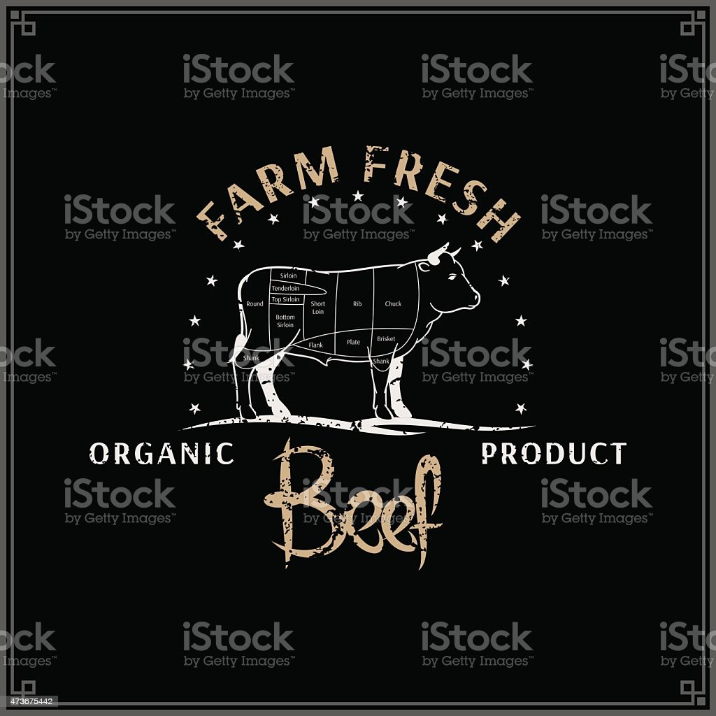 Retro Styled Butcher Shop Label Template, Beef Cuts Diagram vector art illustration