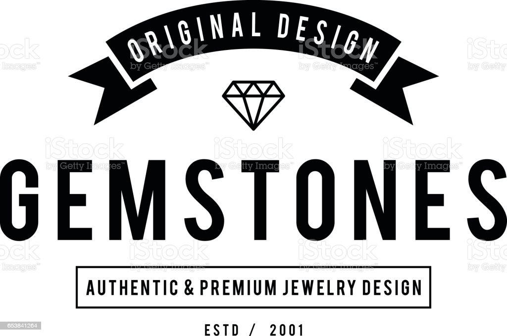 Retro Styled Diamond gemstone and Jewelry Design illustration vector art illustration