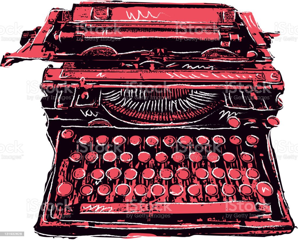 Retro styled drawing of vintage typewriter on white background royalty-free stock photo