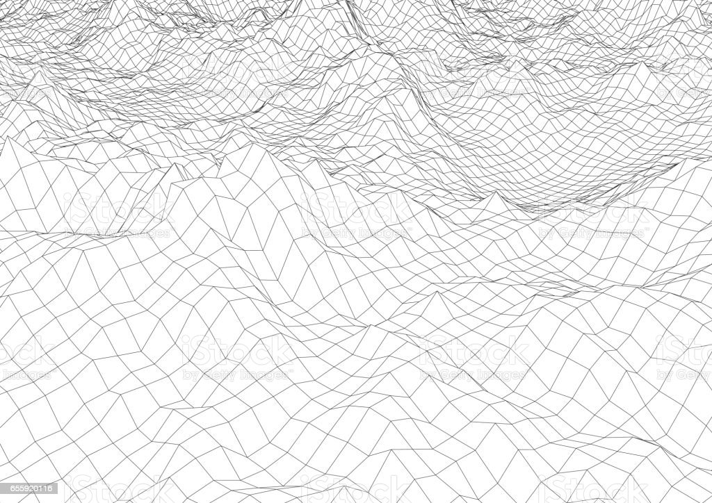 Retro styled futuristic wireframe landscape with mountains vector art illustration