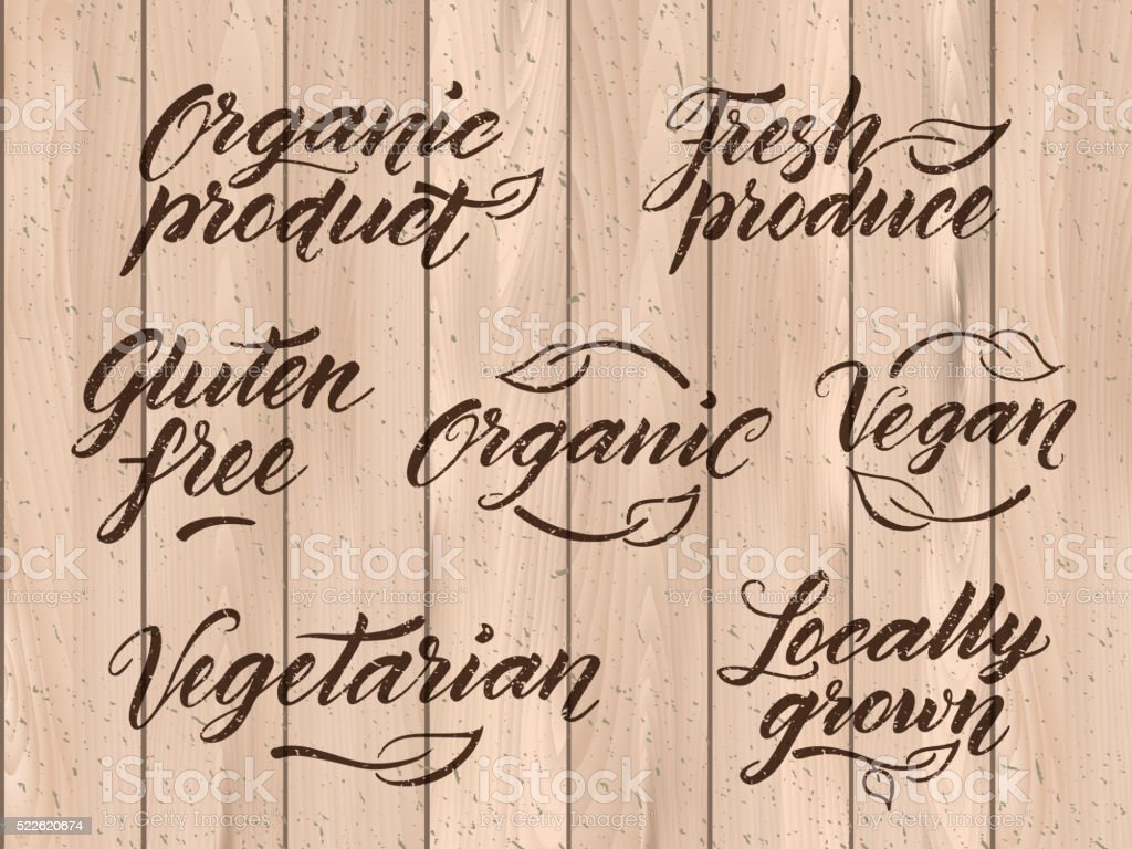 Retro styled healthy food letterings. Label, logo template vector art illustration