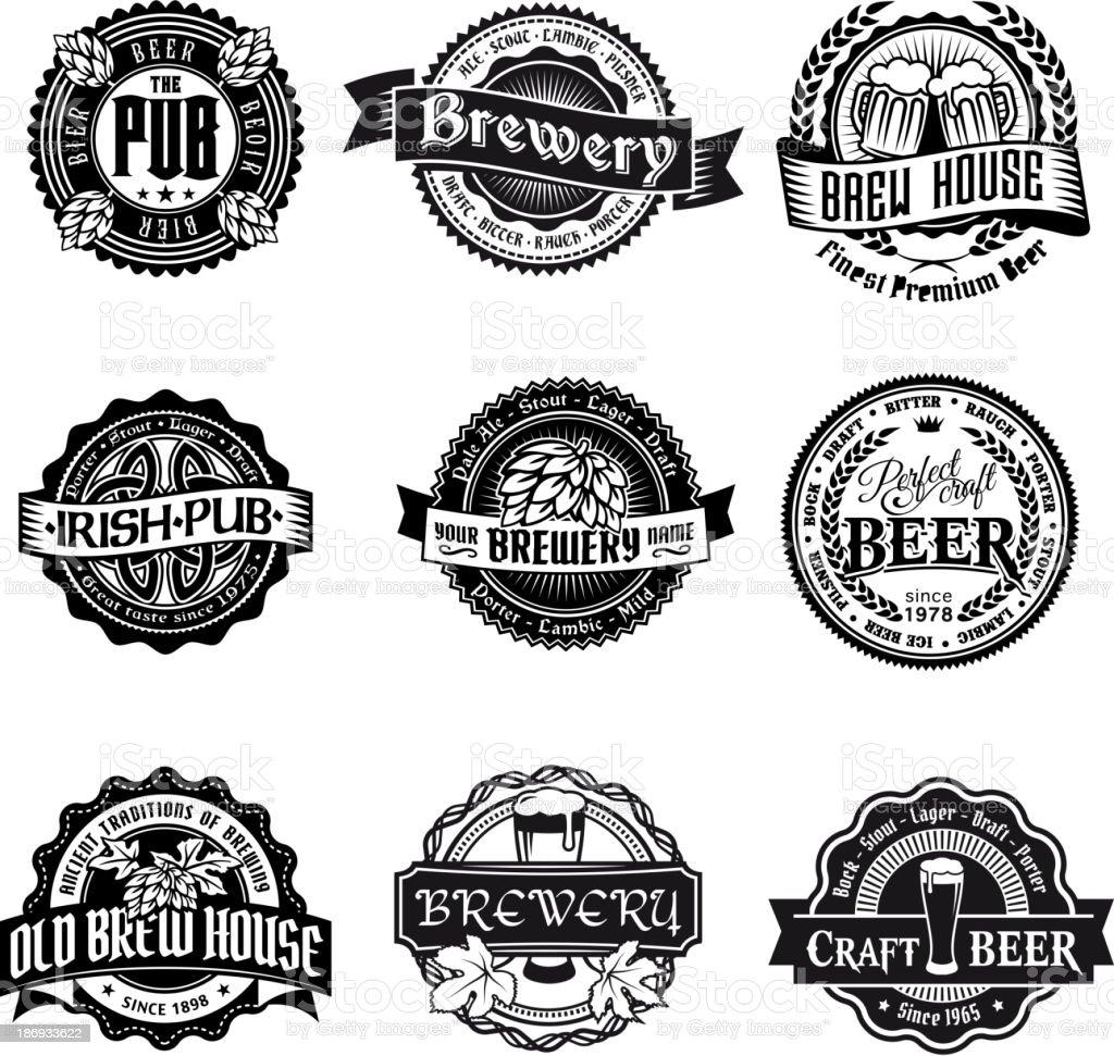 Retro styled label set of beer vector art illustration