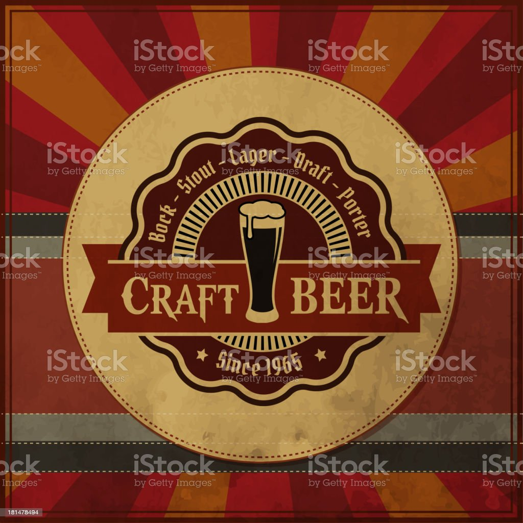 Retro styled posted of Craft beer royalty-free stock vector art