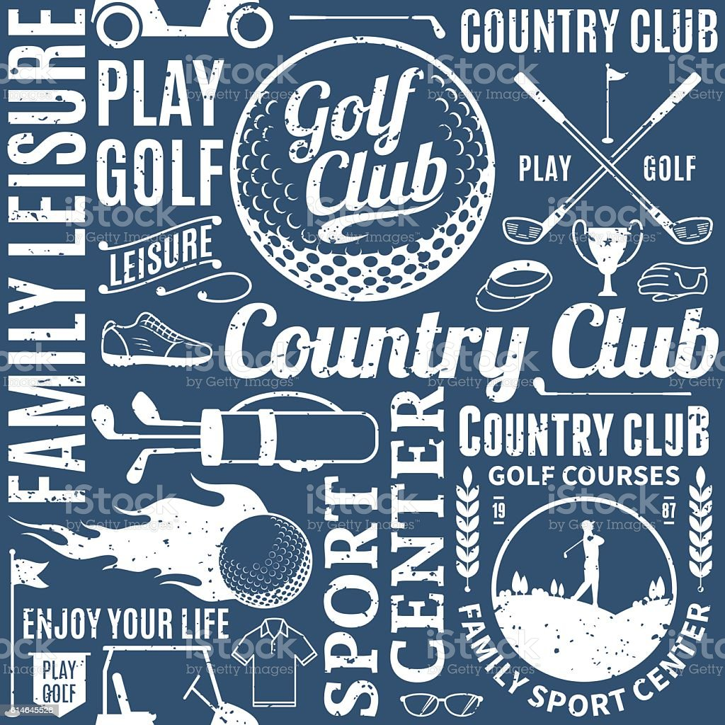 Retro styled typographic vector golf seamless pattern or backgro vector art illustration
