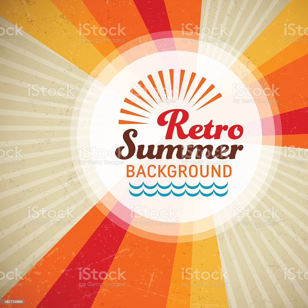 Retro Summer Background vector art illustration