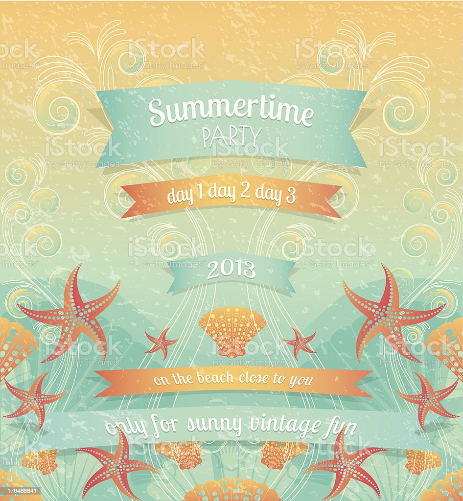 Retro Summer Beach Party vector art illustration
