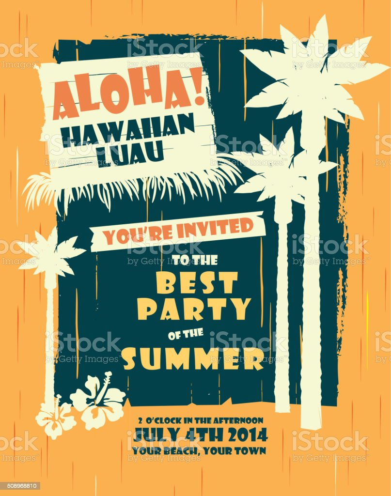 Retro Summer Hawaiian Luau party design template vector art illustration