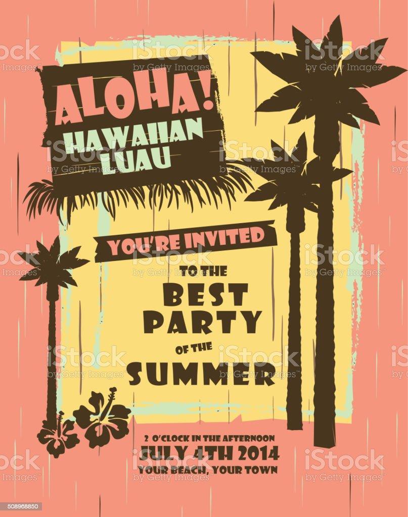 Retro Summer Hawaiian Luau party design template vector art illustration