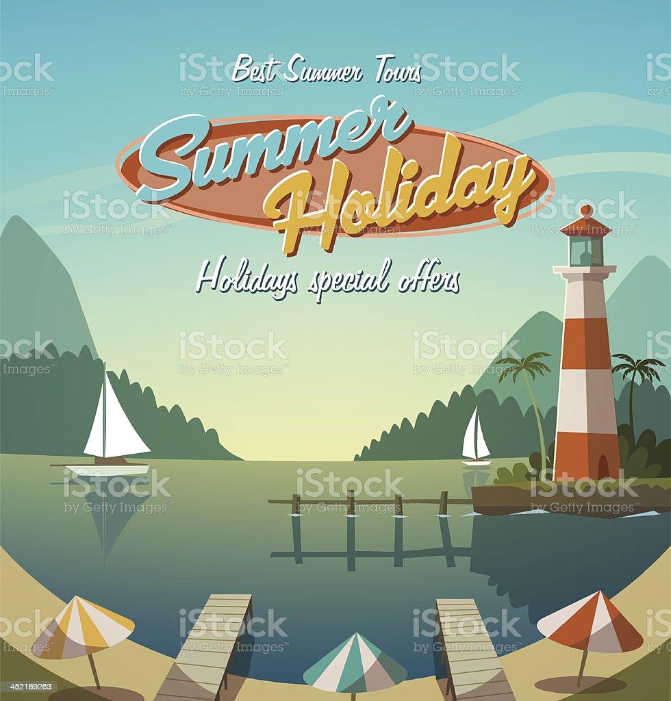 Retro summer holiday offer flyer royalty-free stock vector art