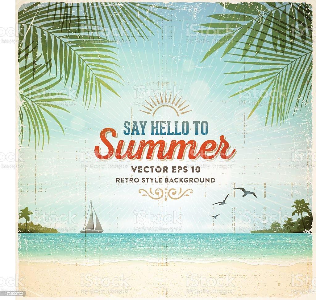 Retro Summer Holiday Poster Background vector art illustration