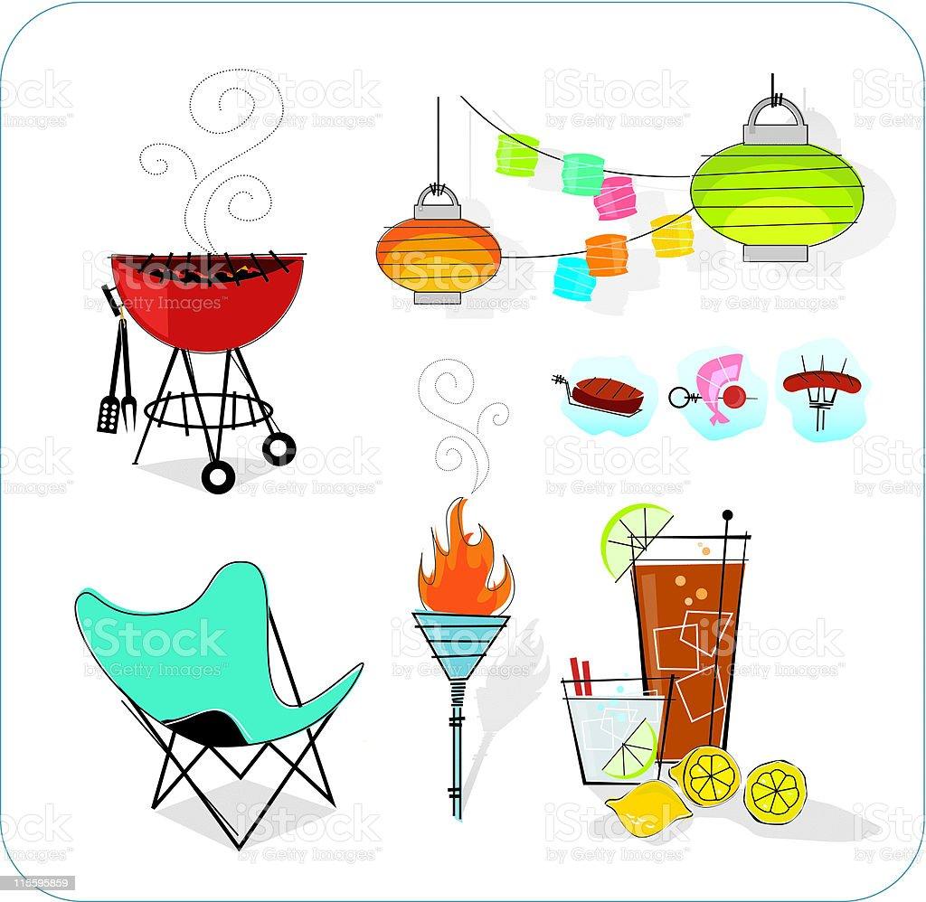 Retro Summer Icons (vector) vector art illustration