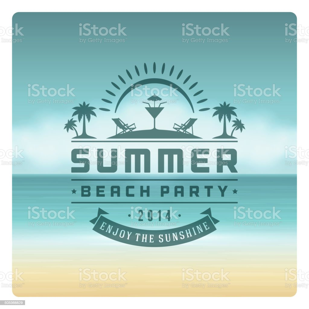 Retro summer party design poster or flyer vector art illustration