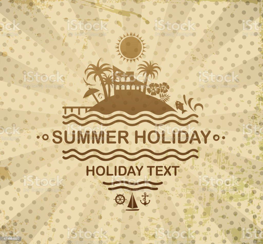 retro summer sign vector art illustration