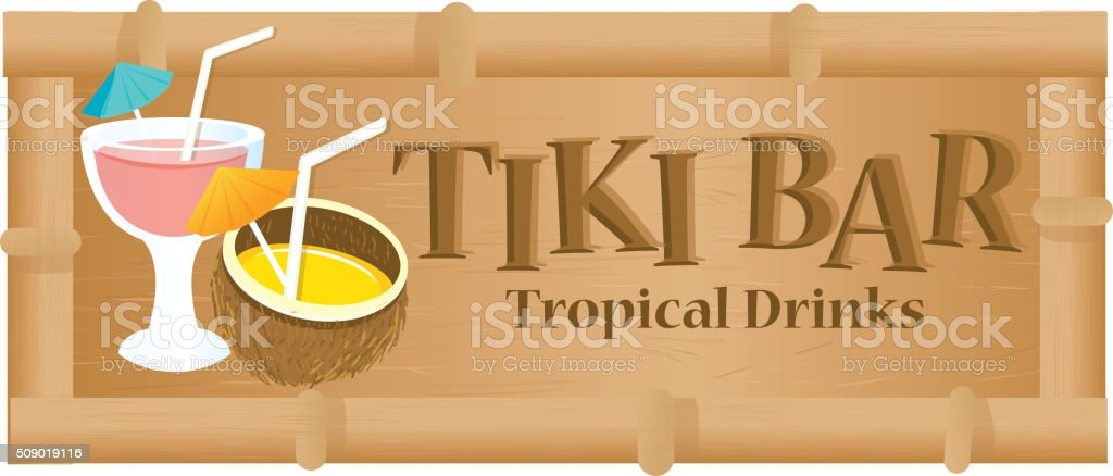 Retro Summer Tiki Bar sign on white background vector art illustration
