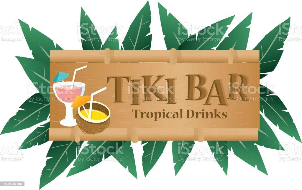 Retro Summer Tiki Bar sign on white background vector art illustration