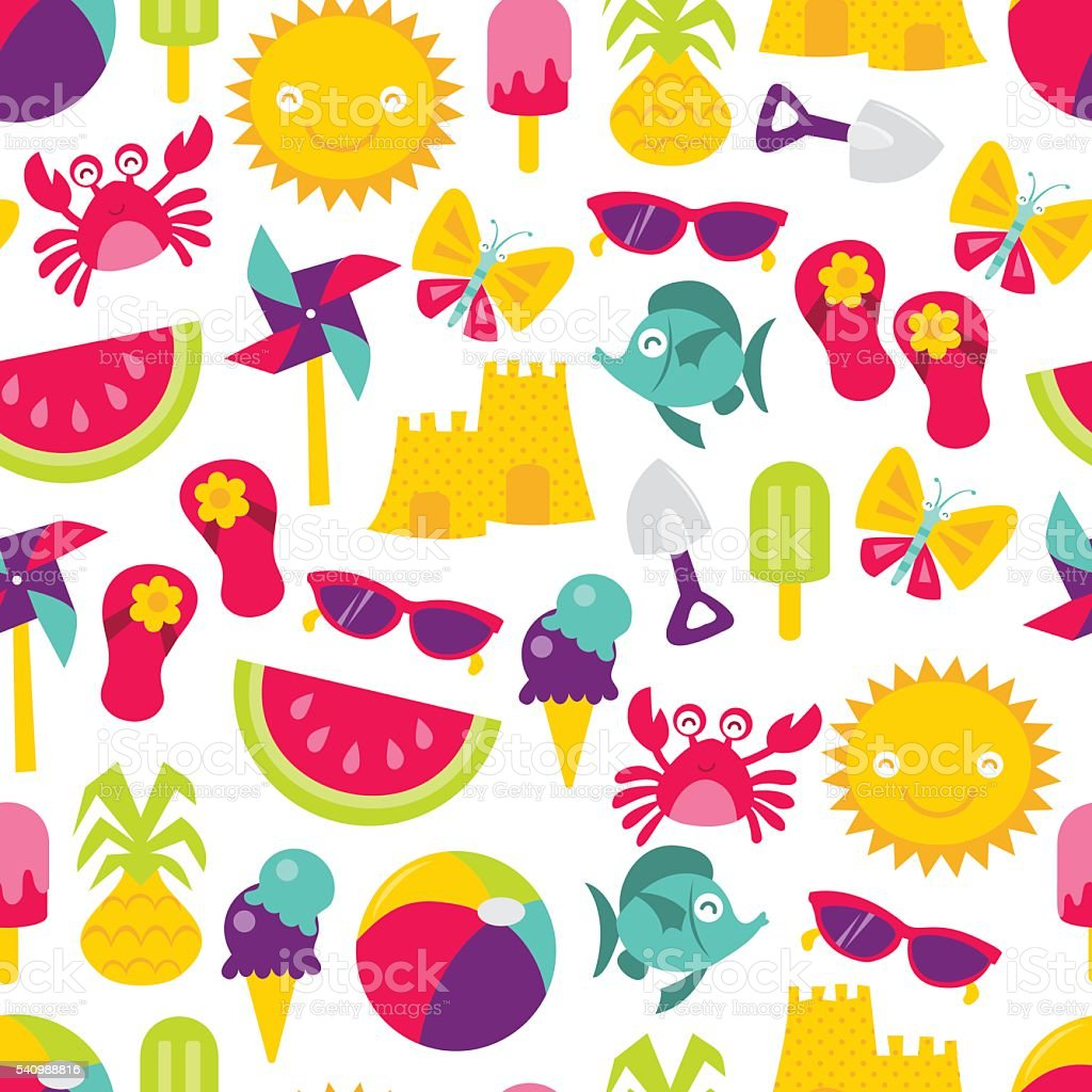 Retro Summer Time Fun Seamless Pattern Background vector art illustration