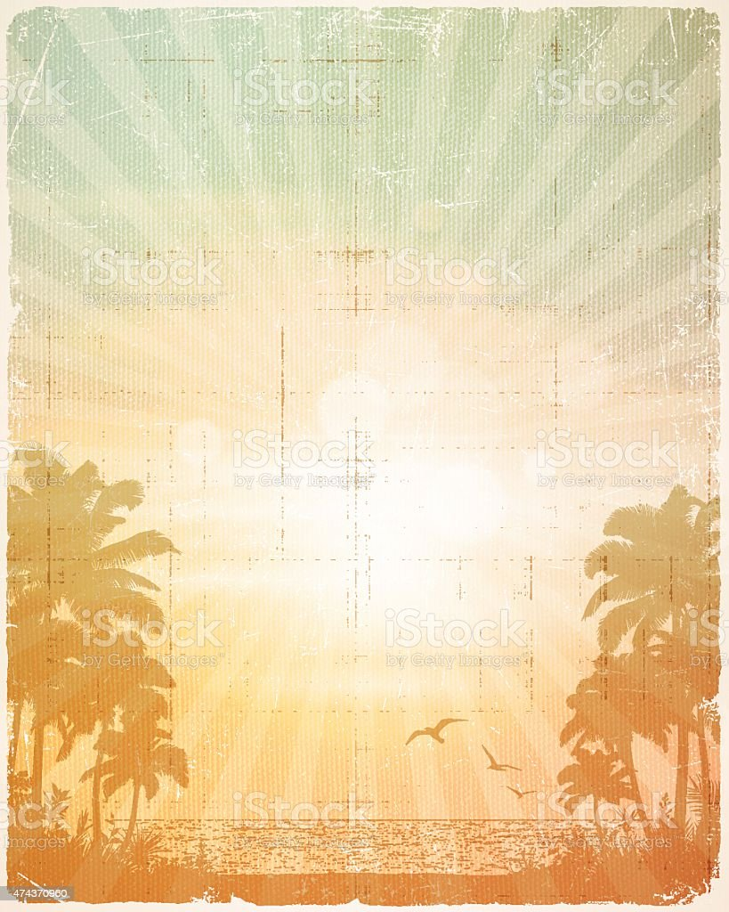 Retro Summer Tropical Beach Poster Background vector art illustration
