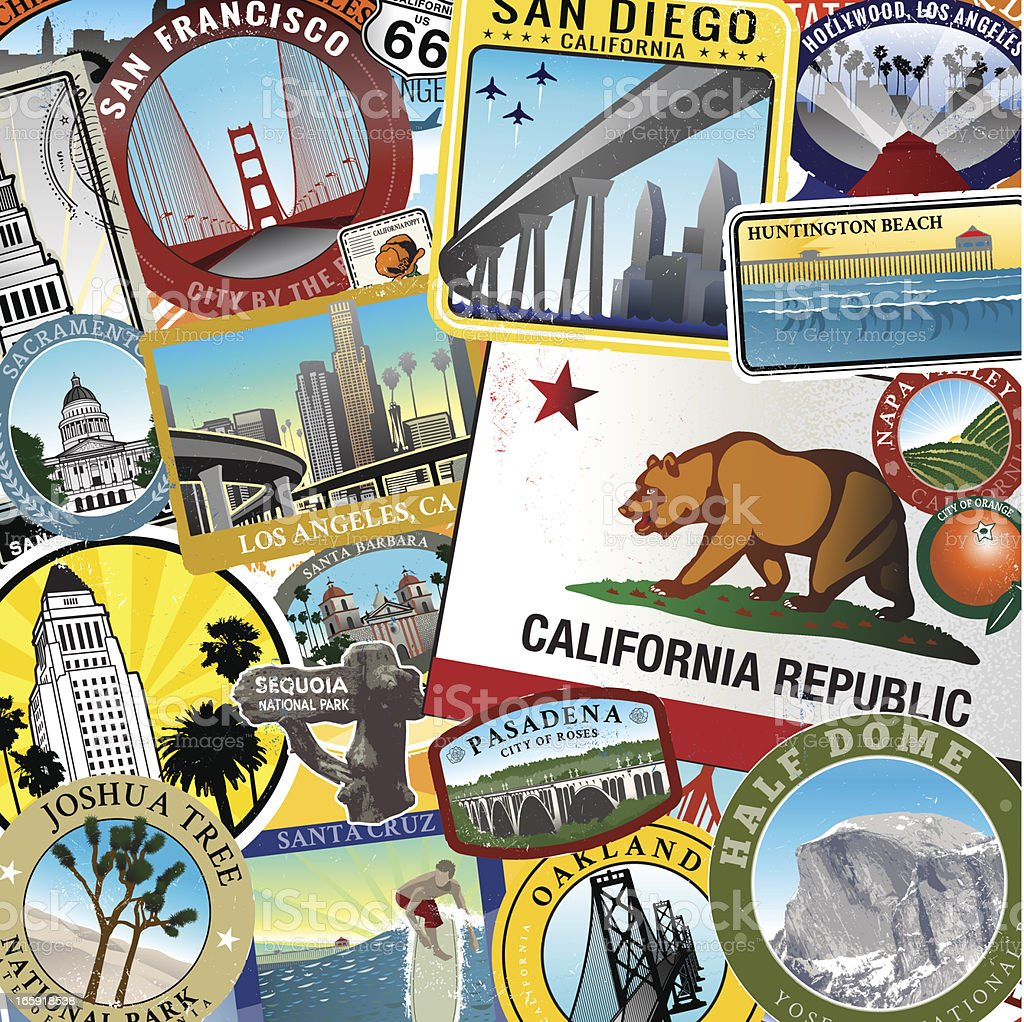 Huntington beach california stock photos and pictures getty images - Retro Super California Collage Royalty Free Stock Vector Art