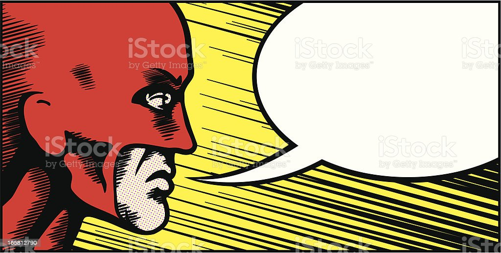 Retro superhero speech bubble royalty-free stock vector art