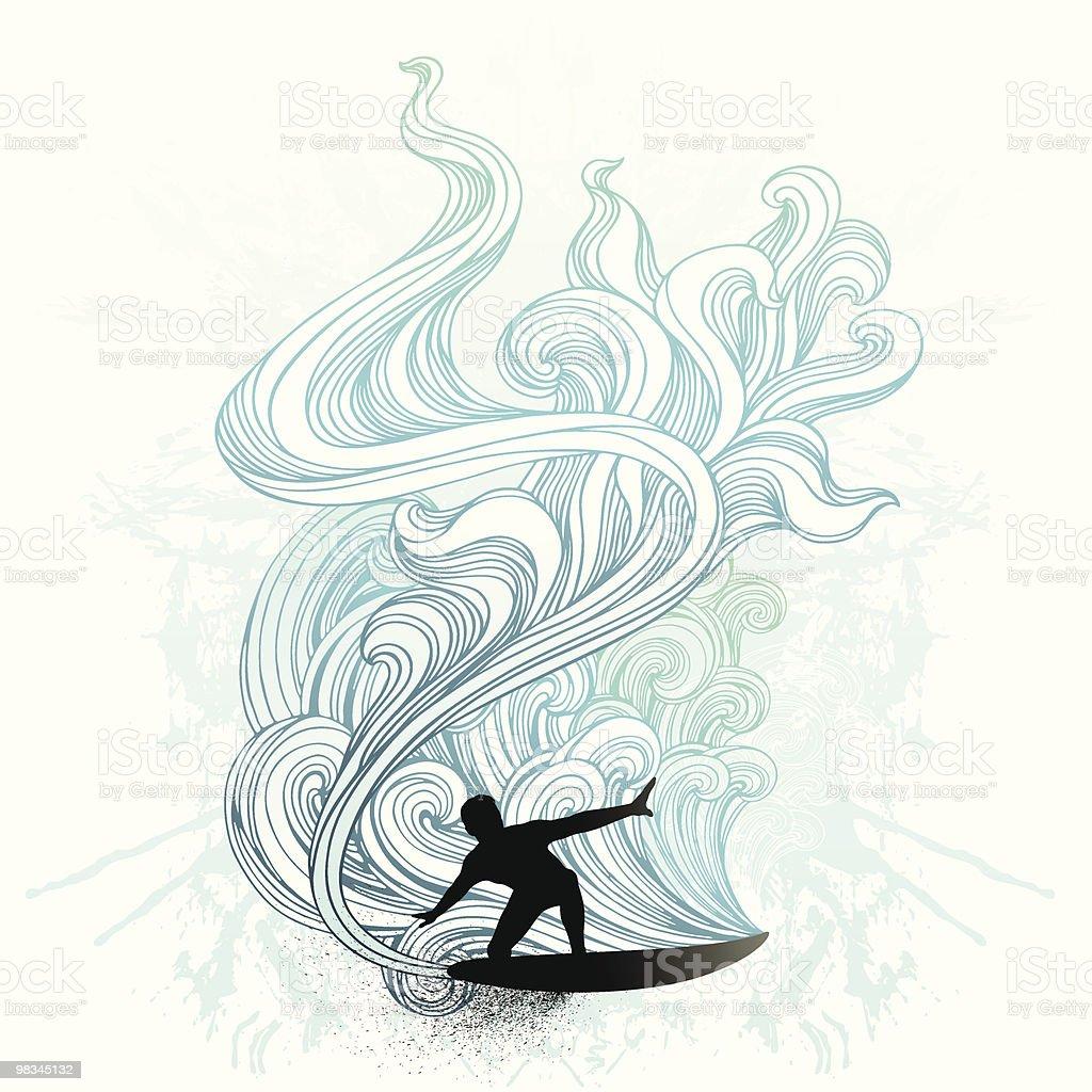 Retro surf vector art illustration