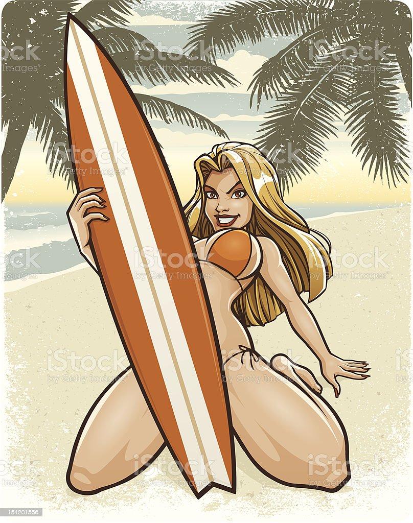 Retro Surfer Girl: Beach Scene (Bikini Version) royalty-free stock vector art