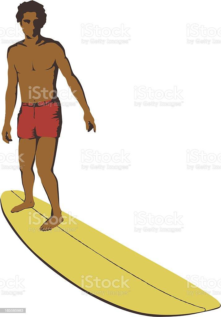 Retro surfer over longboard royalty-free stock vector art