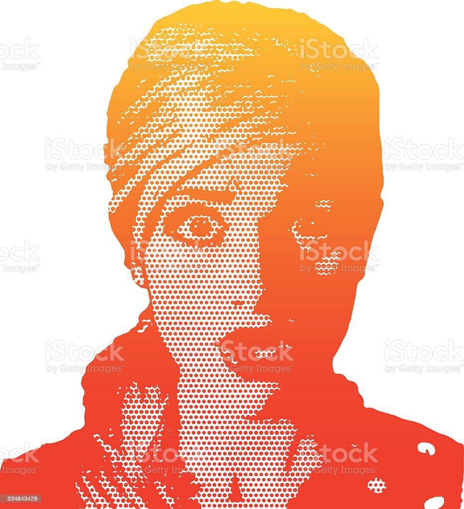 Retro Surprised Woman vector art illustration