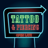 Retro Tattoo and piercing neon sign