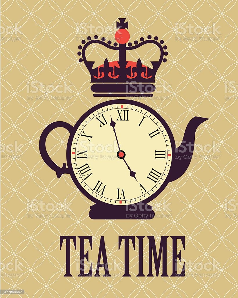 retro tea time in London poster vector art illustration