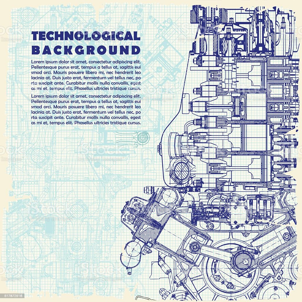 Retro   technical background, drawing  engine and space for your text. vector art illustration