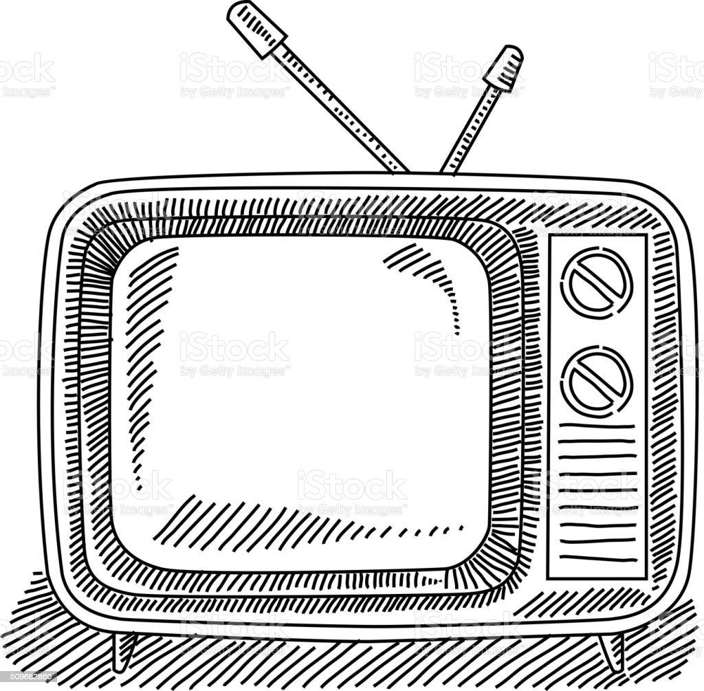 Retro Television Drawing vector art illustration