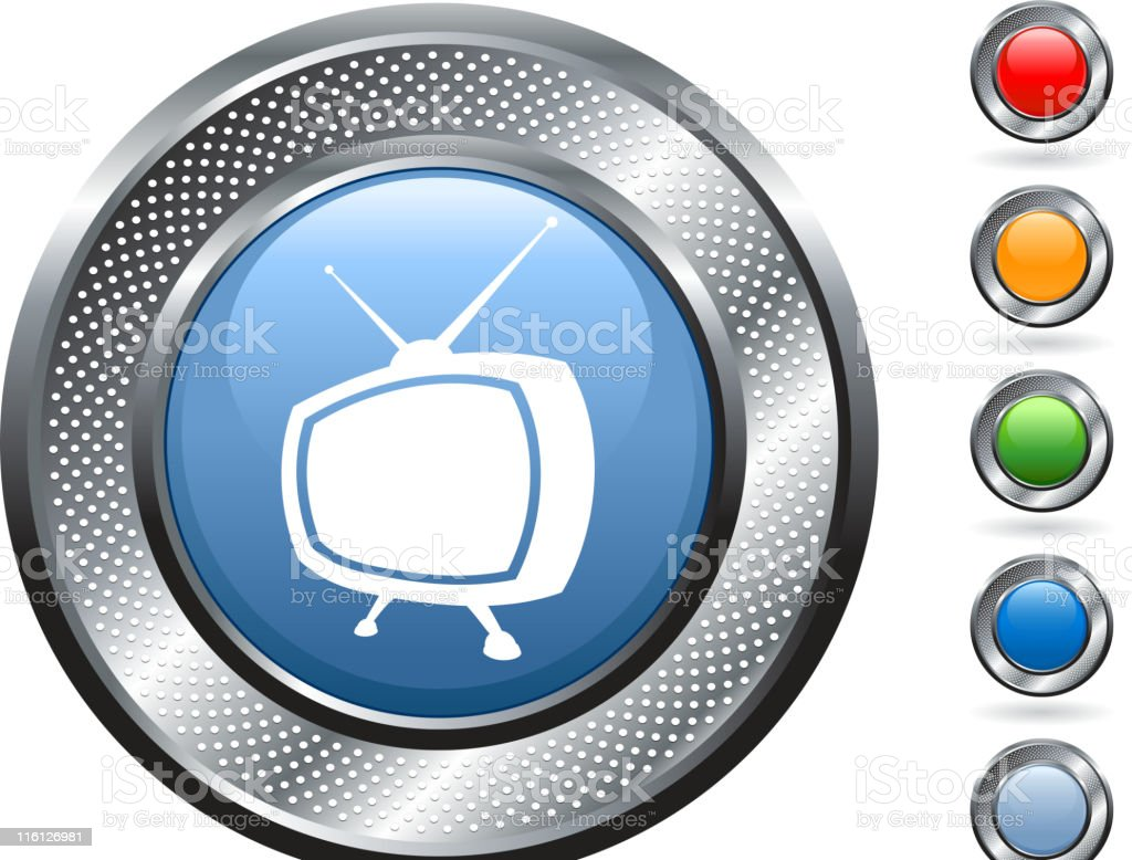 retro television royalty free vector art on metallic button royalty-free stock vector art