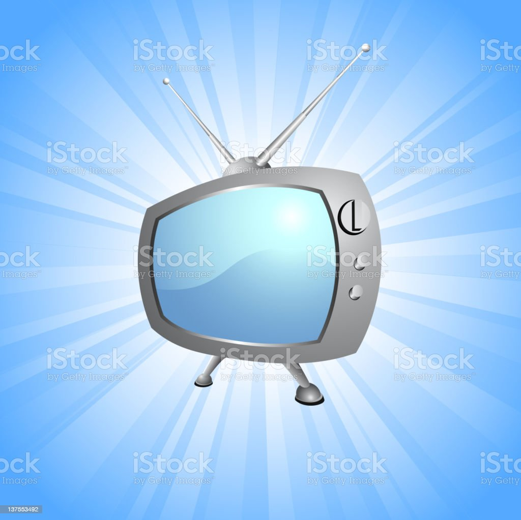 Retro Television set on glowing blue Background royalty-free stock vector art