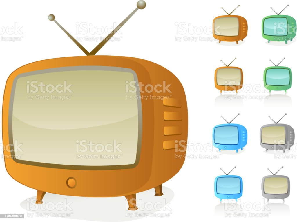 retro Television vector art illustration