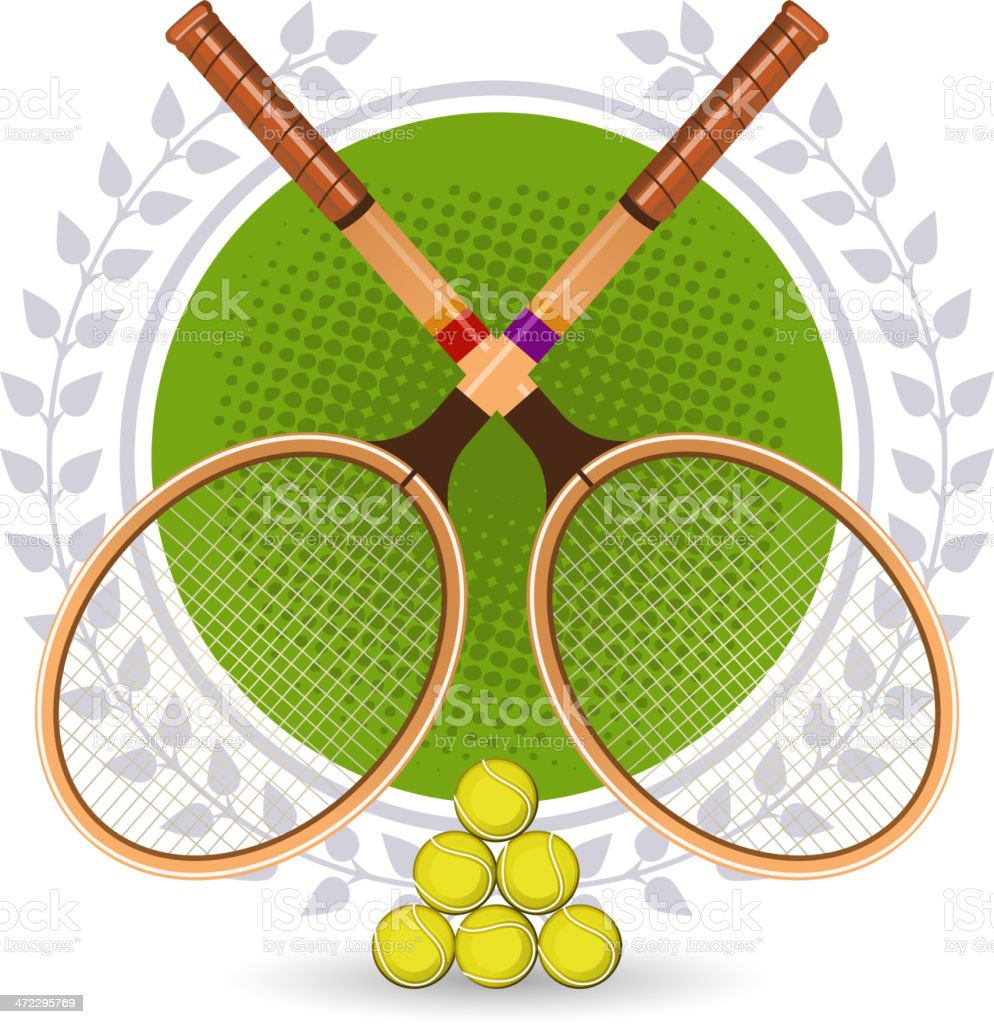 Retro Tennis Emblem Set with rackets and laurel wreath vector art illustration