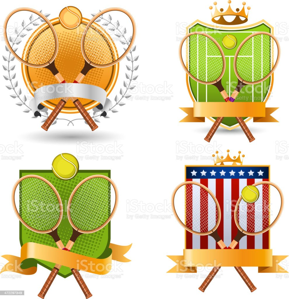 Retro Tennis Emblem with rackets and laurel wreath Set vector art illustration