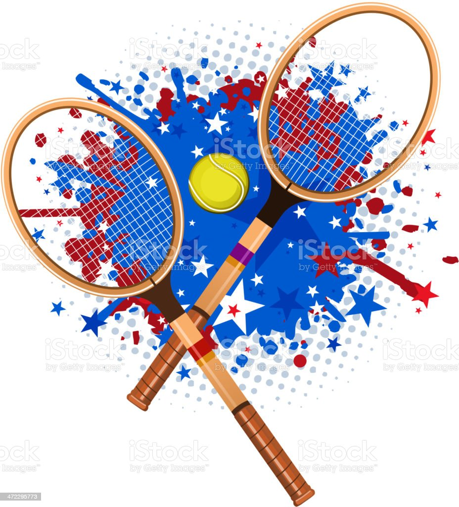 Retro tennis rackets with ball and red blue splash vector art illustration