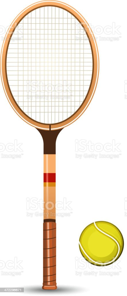 Retro tennis string racket with tennisball standing vertical vector art illustration