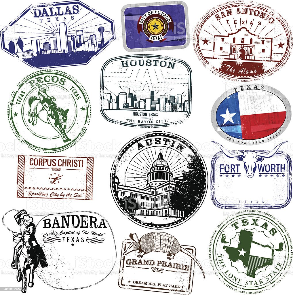 Retro Texas Stamps vector art illustration