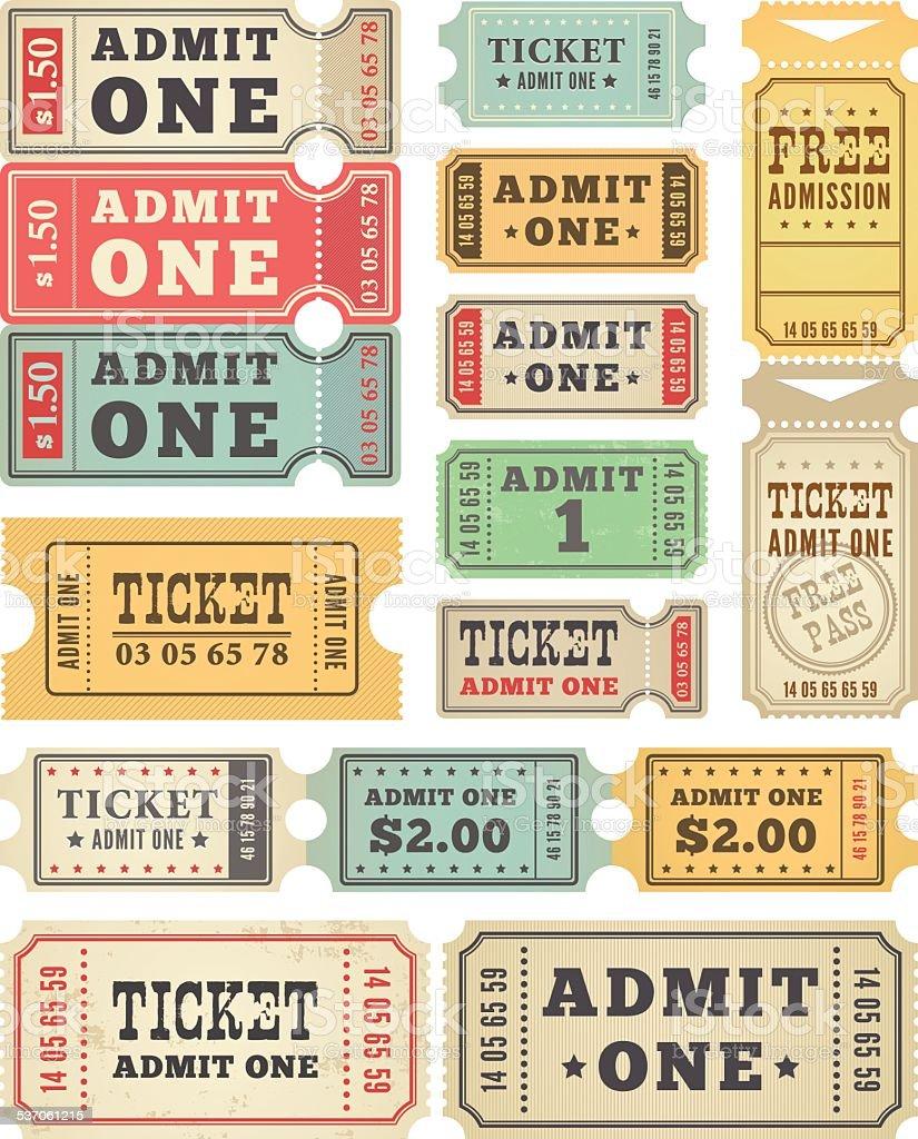 Retro Tickets Collection vector art illustration