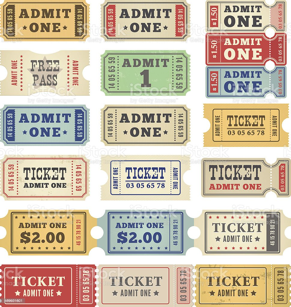 Retro tickets in a collection of colors vector art illustration