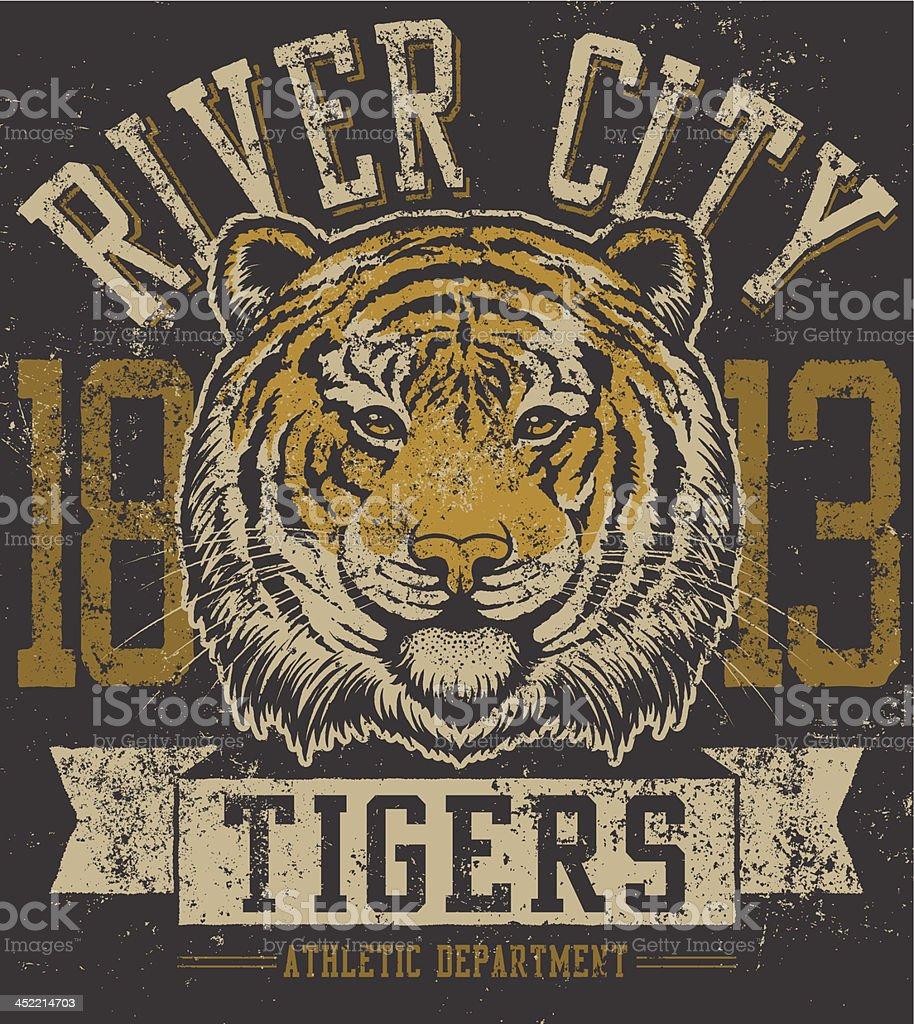 Retro Tiger Mascot Design royalty-free stock vector art
