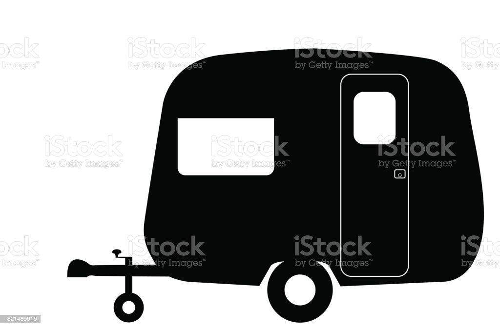 Retro Tiny Caravan Silhouette vector art illustration