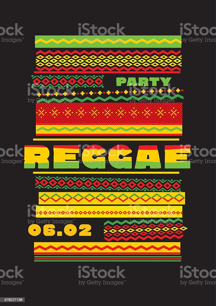 retro traditional decorative pattern. reggae color music backgro vector art illustration