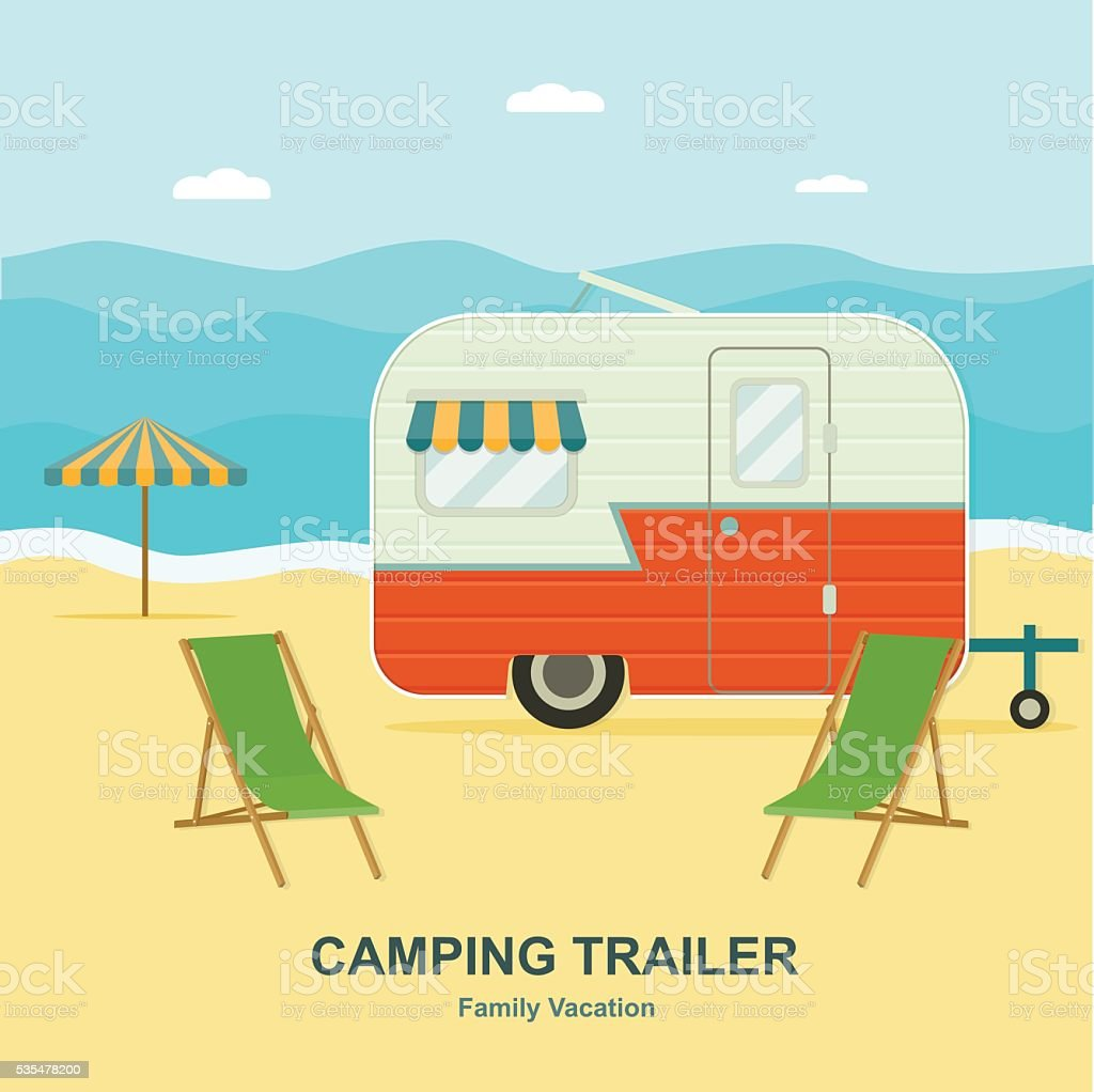 Retro trailer on the sea coast. vector flat illustration. vector art illustration