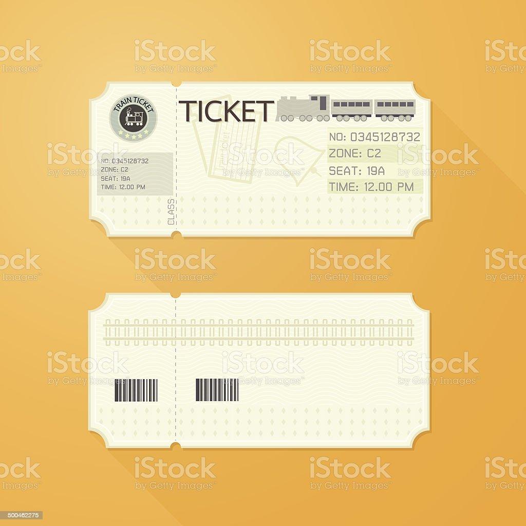 Retro Train Ticket Card Classic design vector art illustration