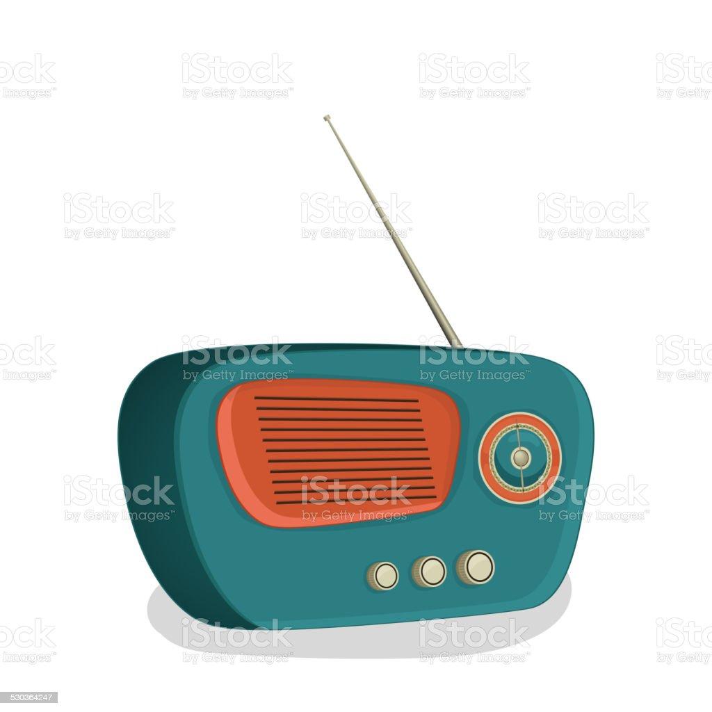 Retro transistor radio design. vector art illustration