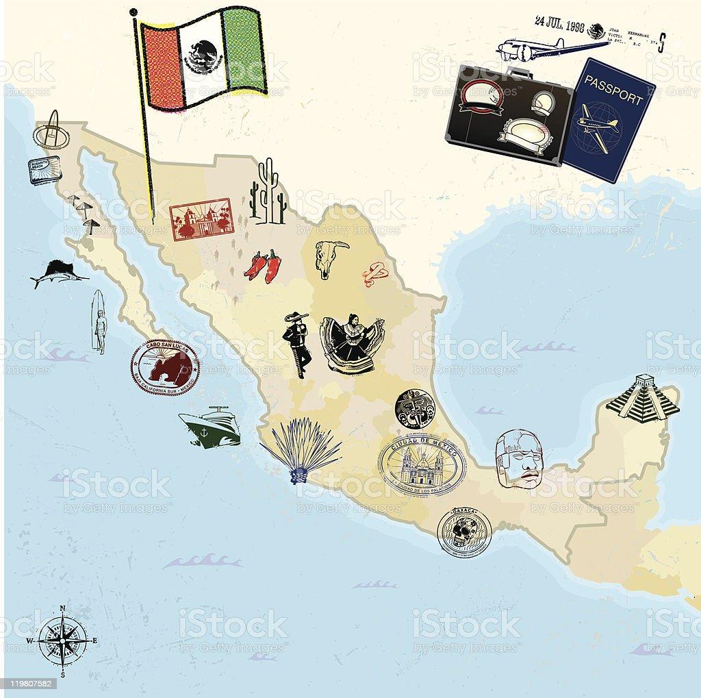 Retro travel and mexican landmarks vector art illustration