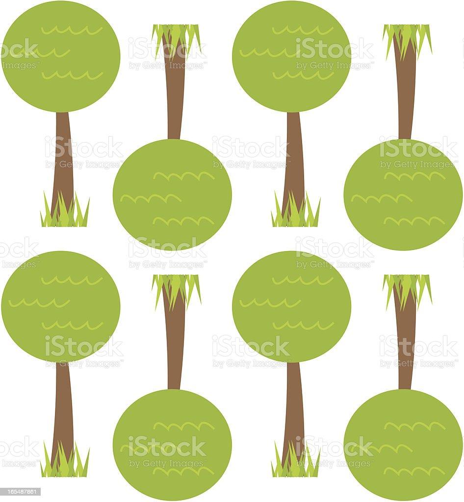 Retro Tree Seamless Wallpaper Tile vector art illustration