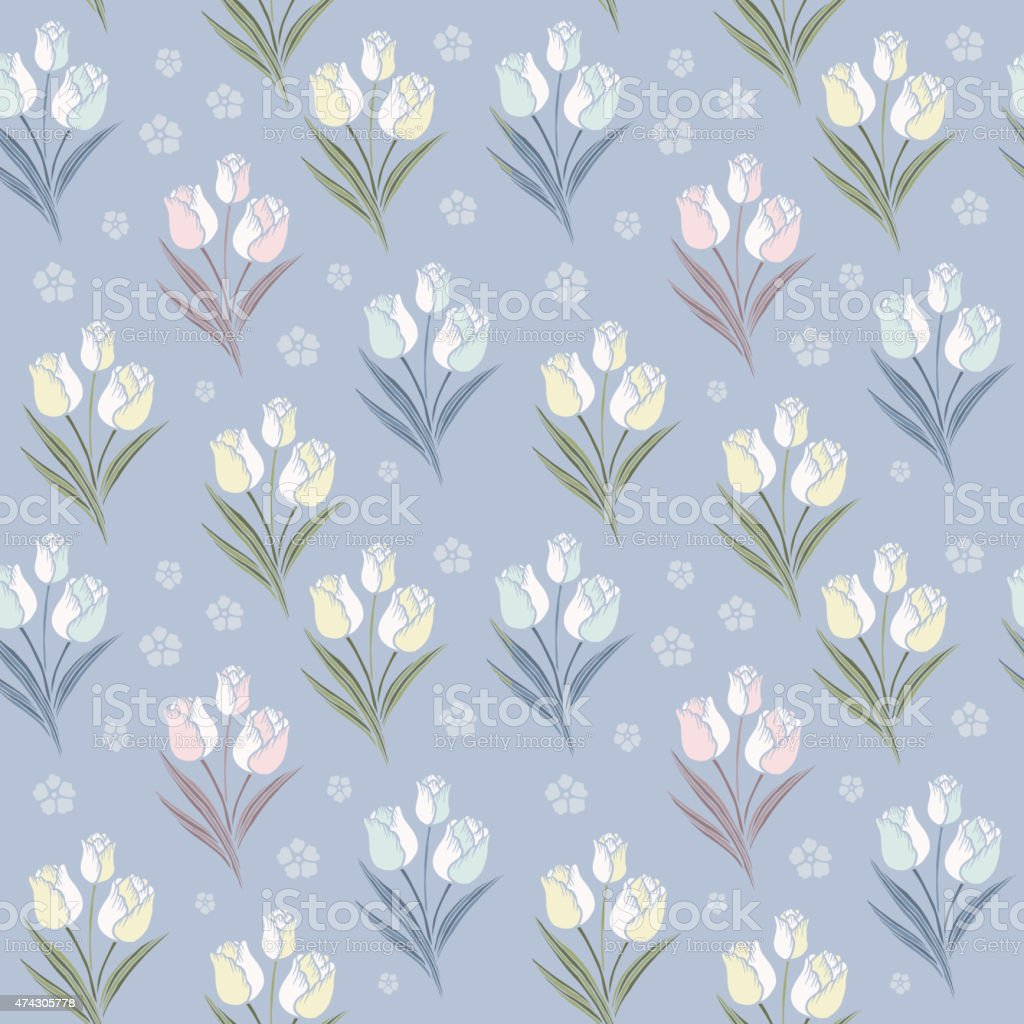 retro tulips seamless pattern background vector art illustration